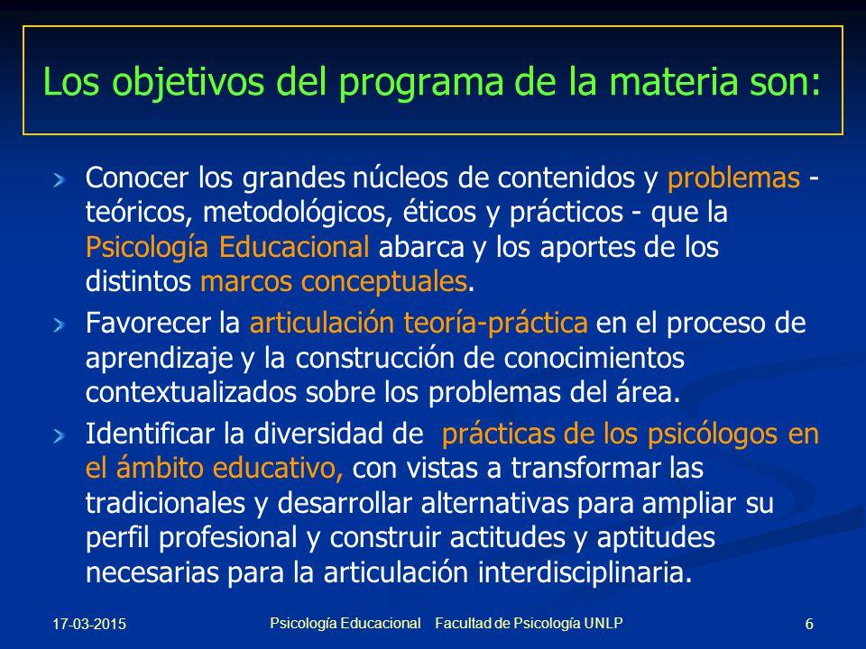 Los objetivos del programa de la materia son: