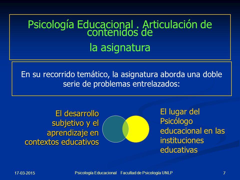 Psicología Educacional . Articulación de contenidos de la asignatura