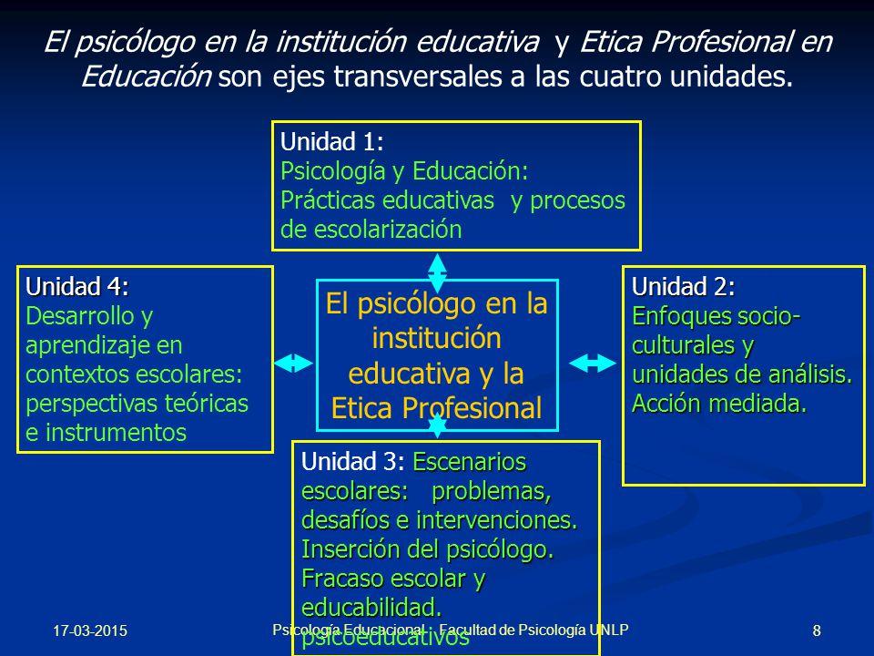El psicólogo en la institución educativa y la Etica Profesional