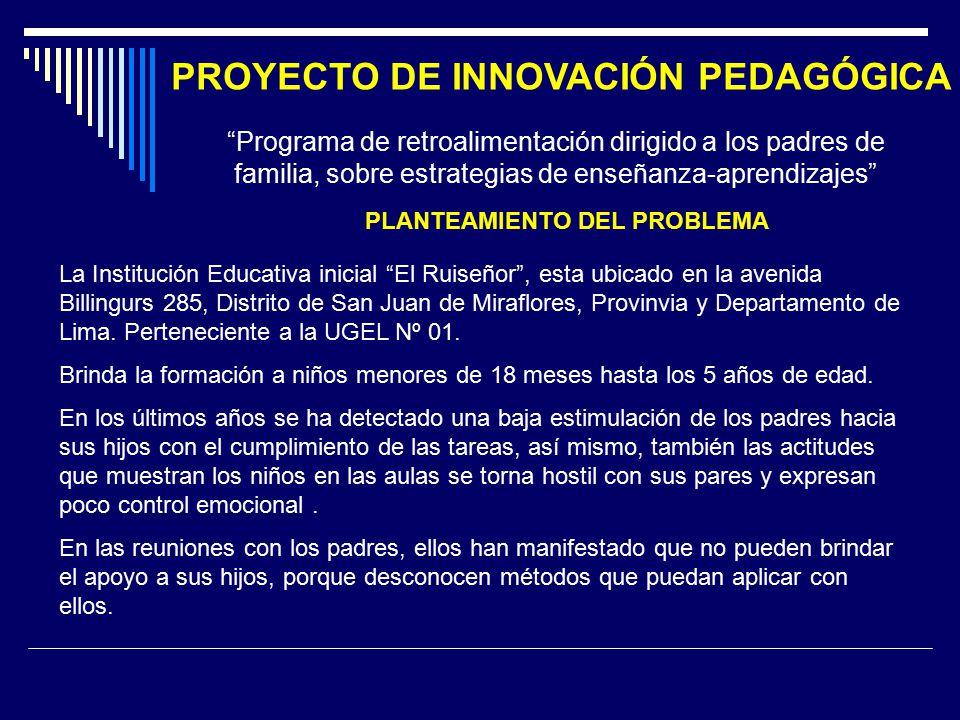 PROYECTO DE INNOVACIÓN PEDAGÓGICA PLANTEAMIENTO DEL PROBLEMA