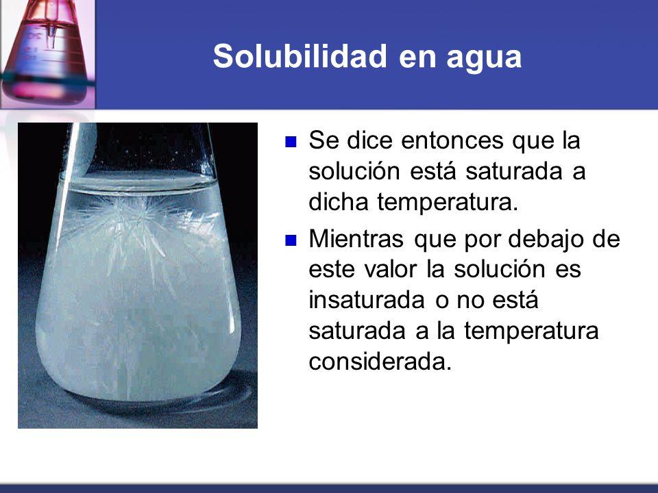 Solubilidad en aguaSe dice entonces que la solución está saturada a dicha temperatura.