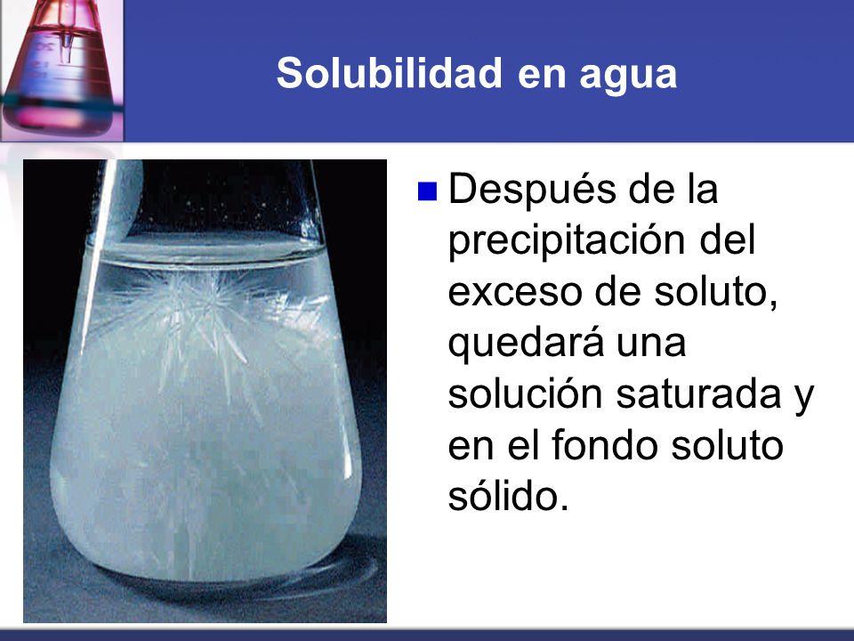 Solubilidad en aguaDespués de la precipitación del exceso de soluto, quedará una solución saturada y en el fondo soluto sólido.