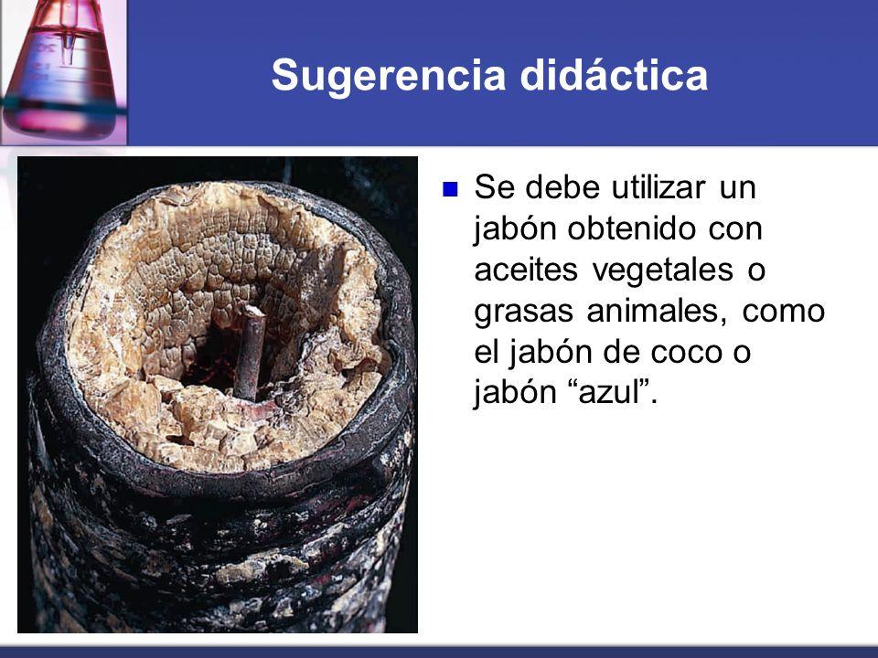 Sugerencia didáctica Se debe utilizar un jabón obtenido con aceites vegetales o grasas animales, como el jabón de coco o jabón azul .