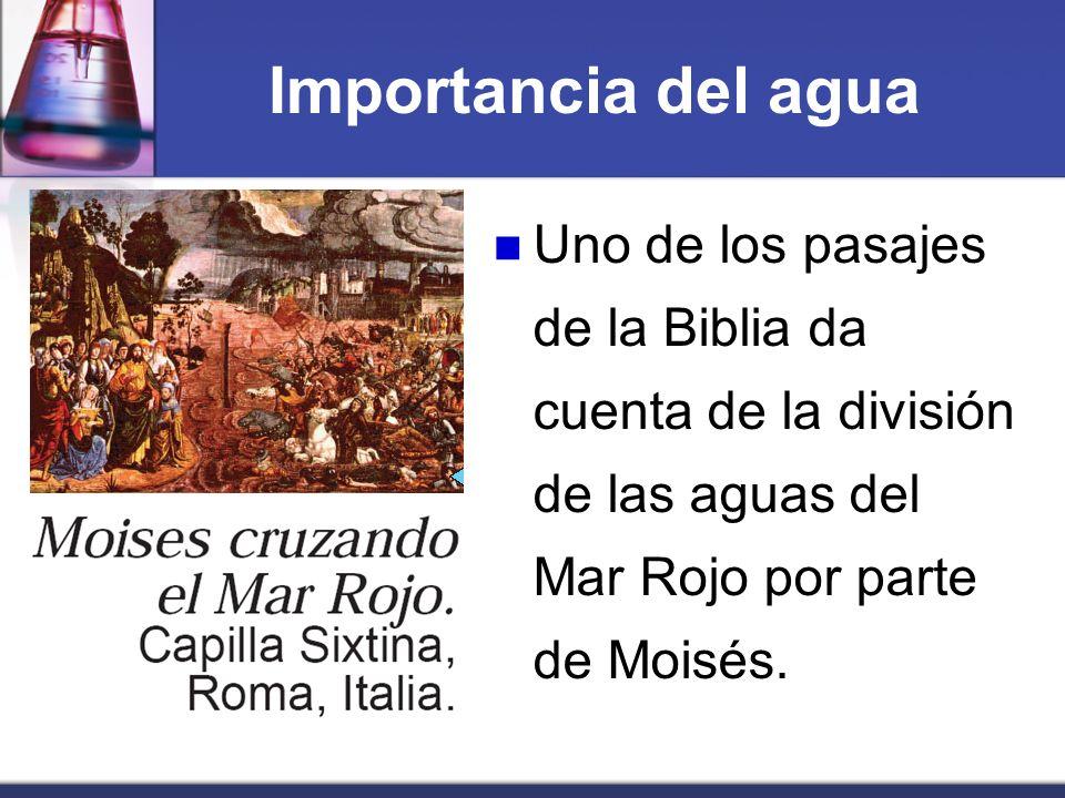 Importancia del agua Uno de los pasajes de la Biblia da cuenta de la división de las aguas del Mar Rojo por parte de Moisés.