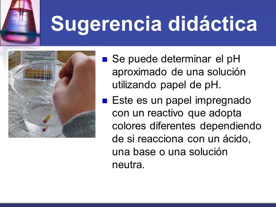 Sugerencia didácticaSe puede determinar el pH aproximado de una solución utilizando papel de pH.
