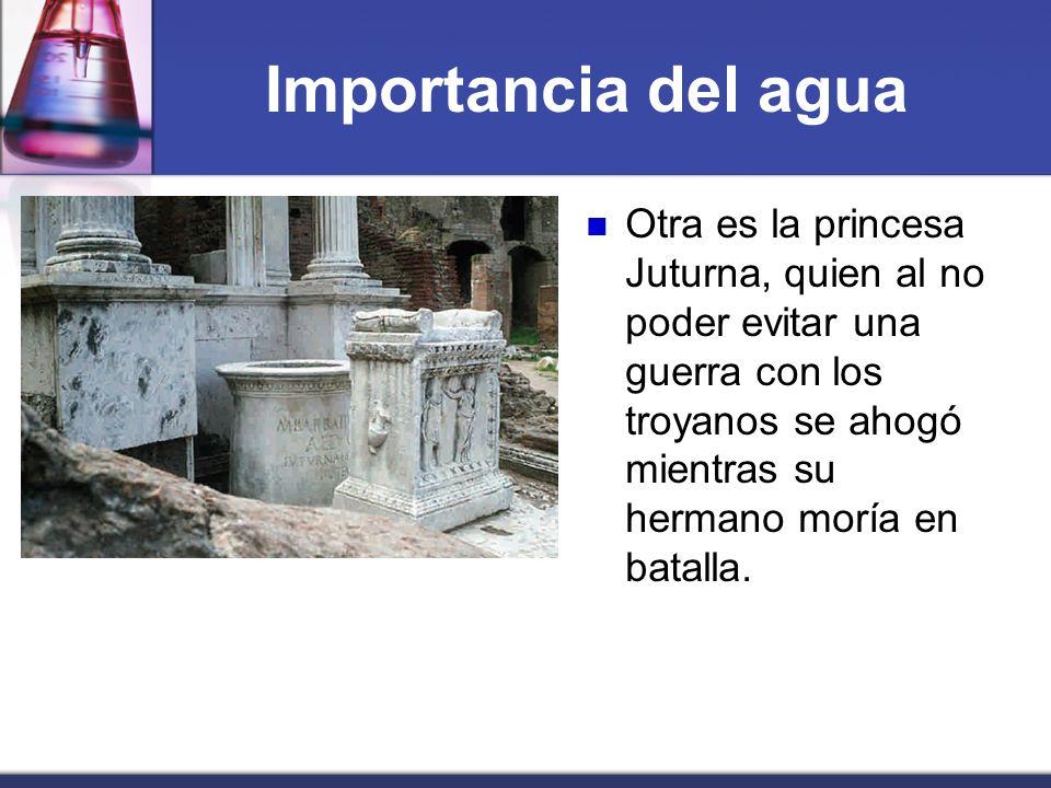 Importancia del agua Otra es la princesa Juturna, quien al no poder evitar una guerra con los troyanos se ahogó mientras su hermano moría en batalla.
