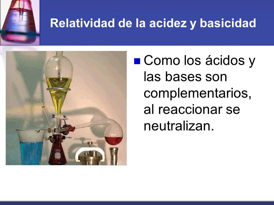 Relatividad de la acidez y basicidad