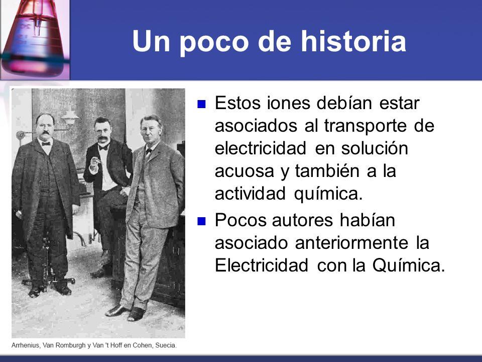 Un poco de historia Estos iones debían estar asociados al transporte de electricidad en solución acuosa y también a la actividad química.