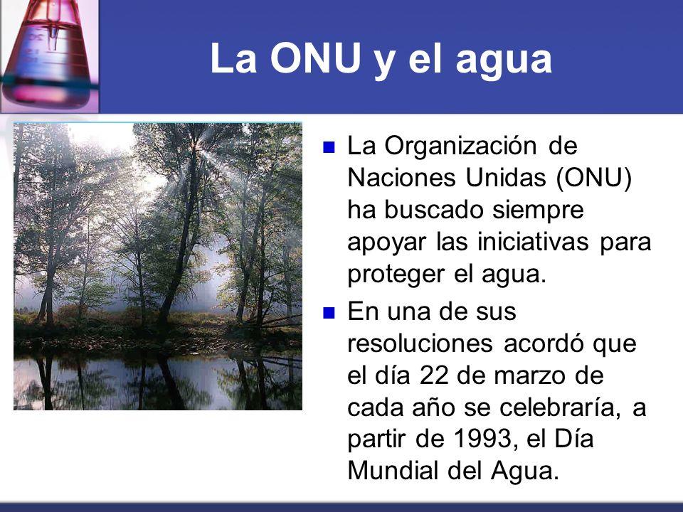 La ONU y el aguaLa Organización de Naciones Unidas (ONU) ha buscado siempre apoyar las iniciativas para proteger el agua.