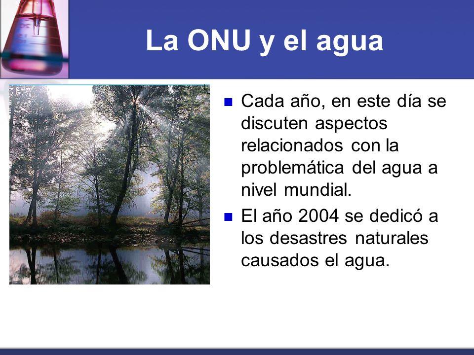 La ONU y el agua Cada año, en este día se discuten aspectos relacionados con la problemática del agua a nivel mundial.