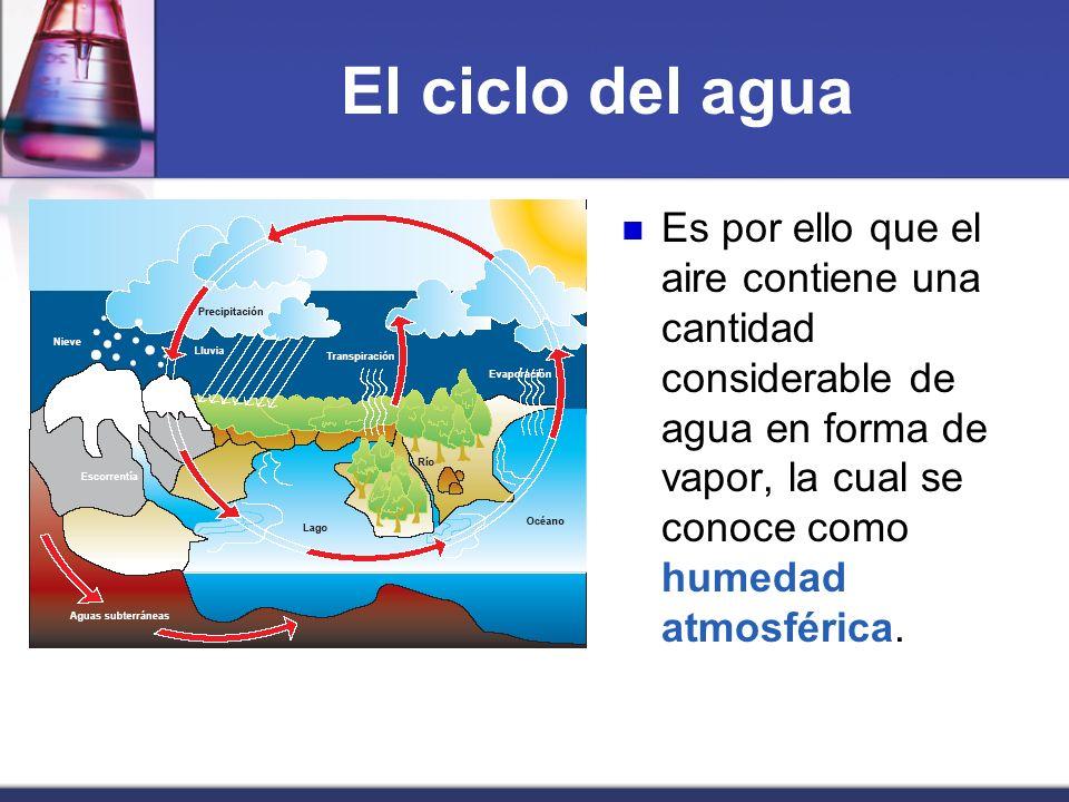 El ciclo del aguaEs por ello que el aire contiene una cantidad considerable de agua en forma de vapor, la cual se conoce como humedad atmosférica.
