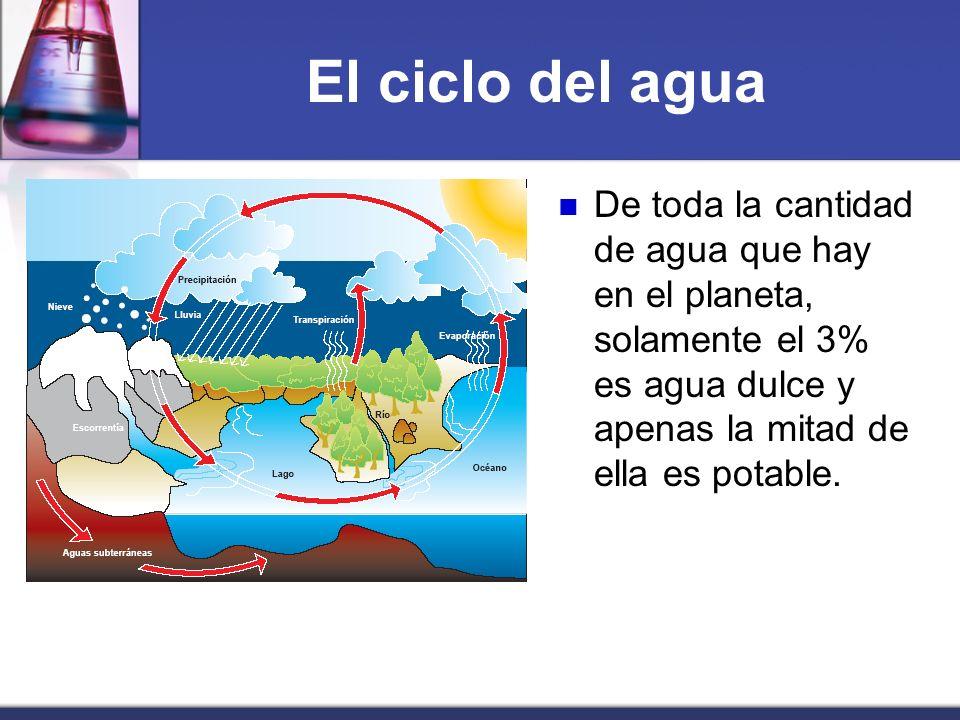 El ciclo del agua De toda la cantidad de agua que hay en el planeta, solamente el 3% es agua dulce y apenas la mitad de ella es potable.