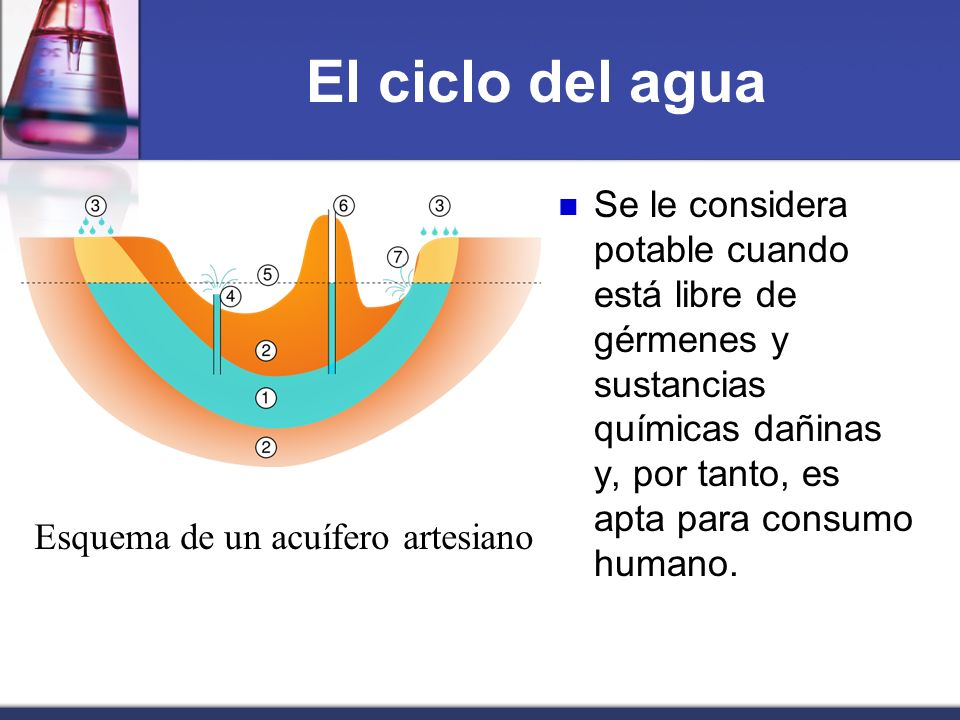 El ciclo del aguaSe le considera potable cuando está libre de gérmenes y sustancias químicas dañinas y, por tanto, es apta para consumo humano.