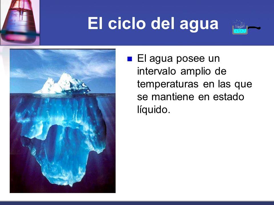 El ciclo del aguaEl agua posee un intervalo amplio de temperaturas en las que se mantiene en estado líquido.