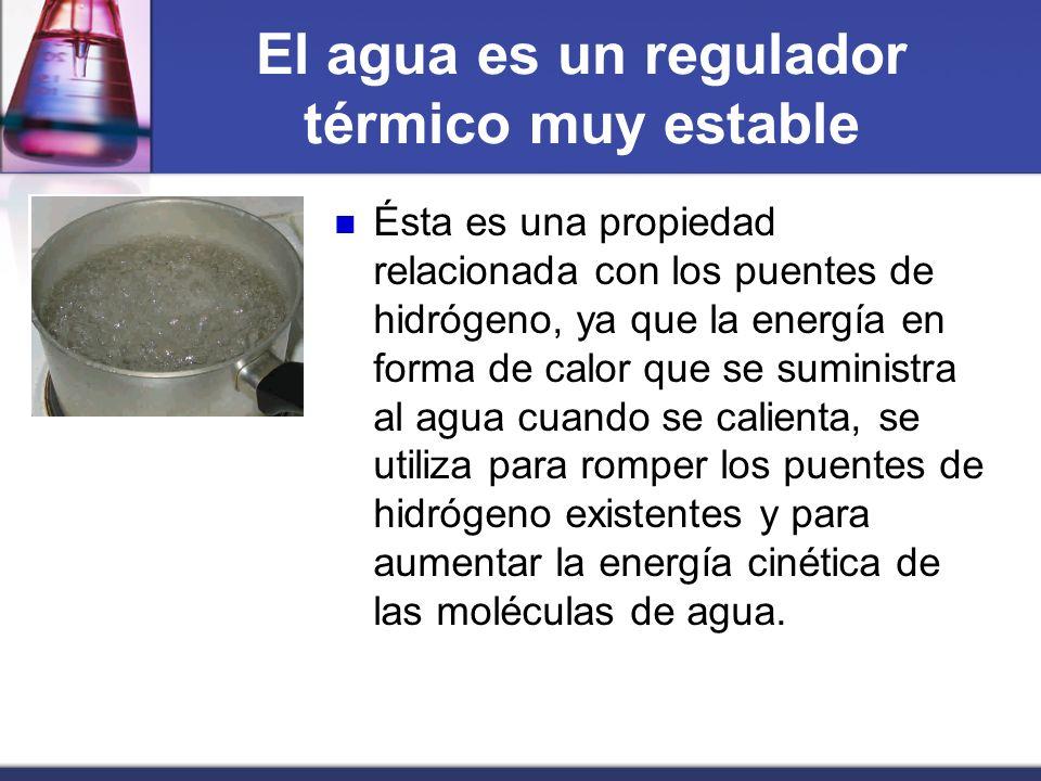 El agua es un regulador térmico muy estable