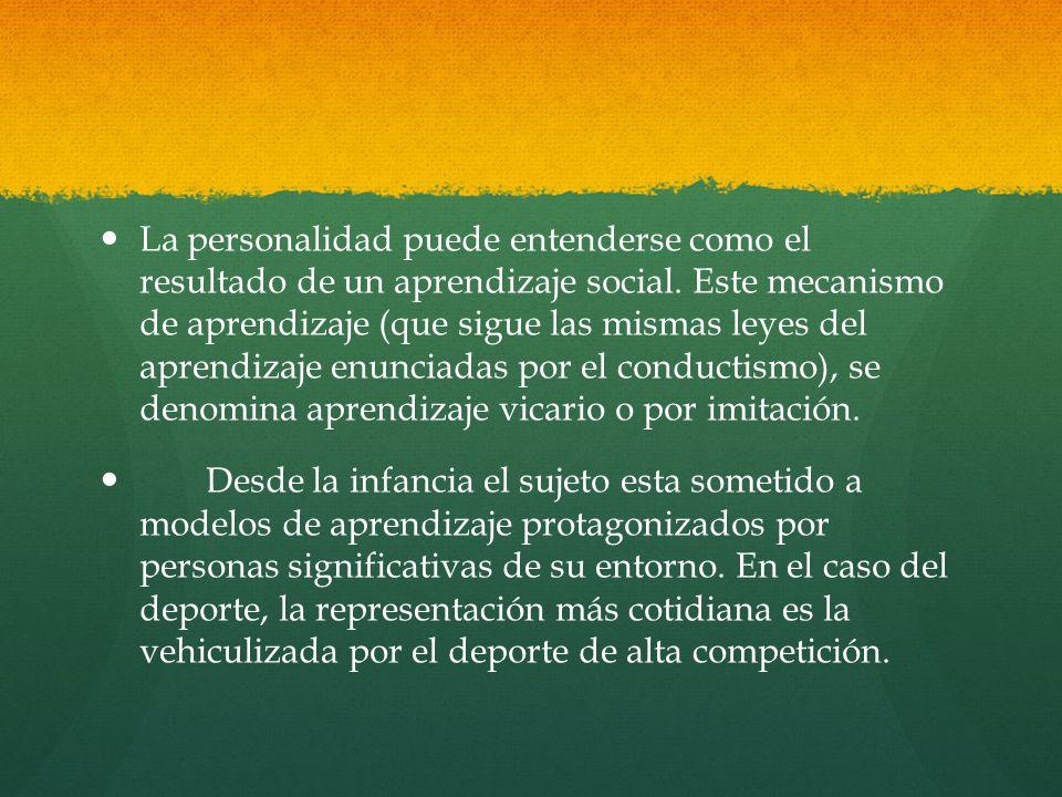 La personalidad puede entenderse como el resultado de un aprendizaje social. Este mecanismo de aprendizaje (que sigue las mismas leyes del aprendizaje enunciadas por el conductismo), se denomina aprendizaje vicario o por imitación.