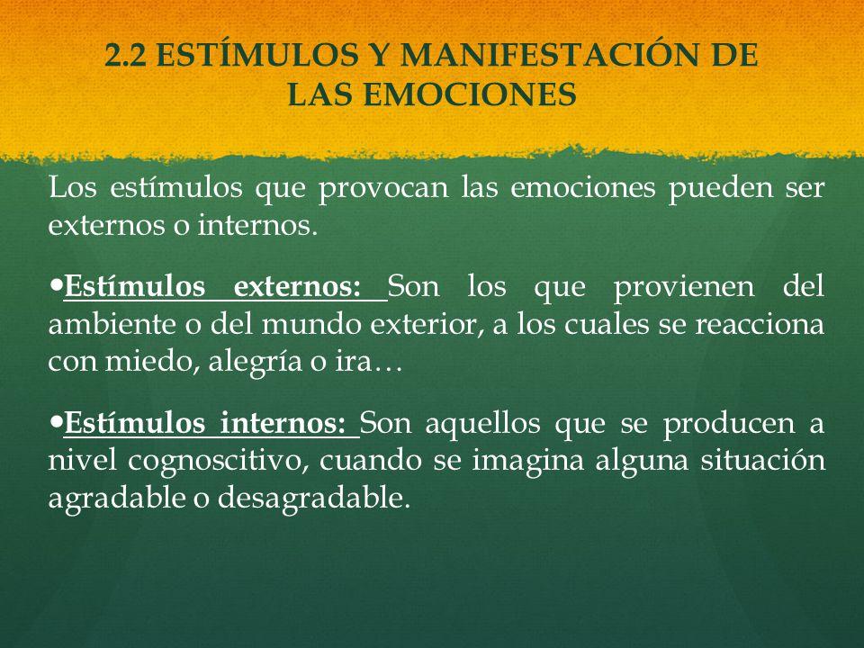 2.2 ESTÍMULOS Y MANIFESTACIÓN DE LAS EMOCIONES