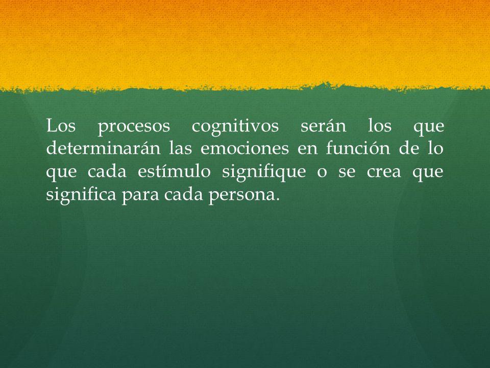 Los procesos cognitivos serán los que determinarán las emociones en función de lo que cada estímulo signifique o se crea que significa para cada persona.