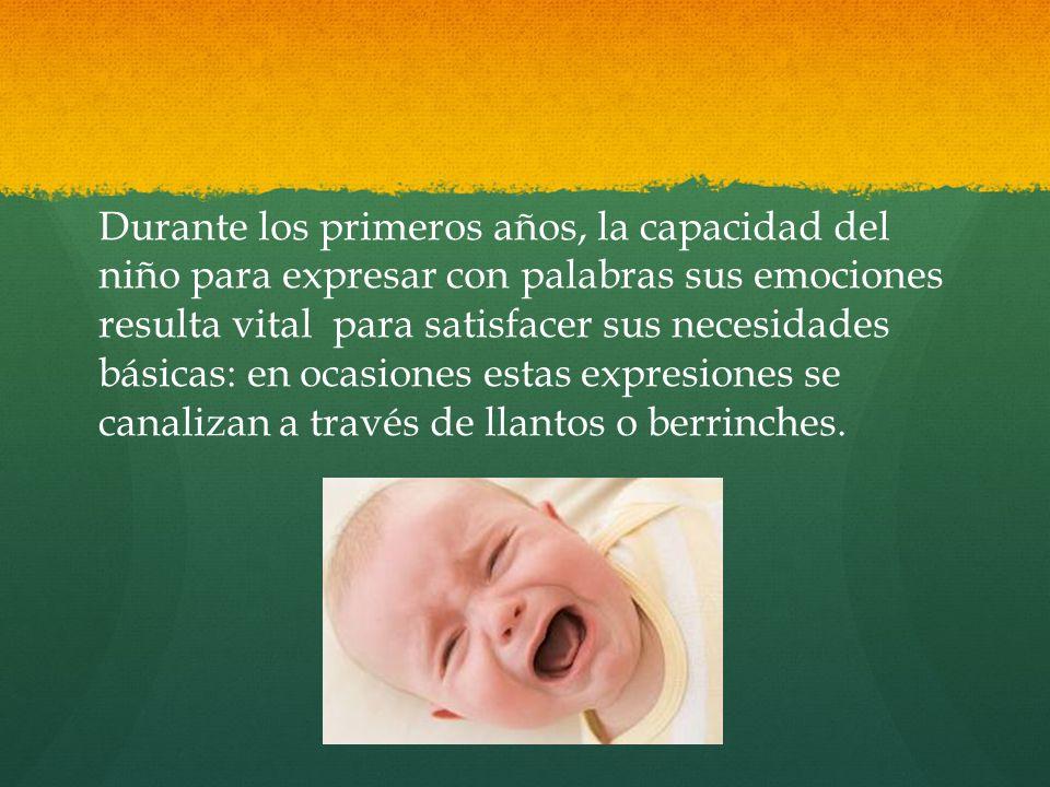 Durante los primeros años, la capacidad del niño para expresar con palabras sus emociones resulta vital para satisfacer sus necesidades básicas: en ocasiones estas expresiones se canalizan a través de llantos o berrinches.