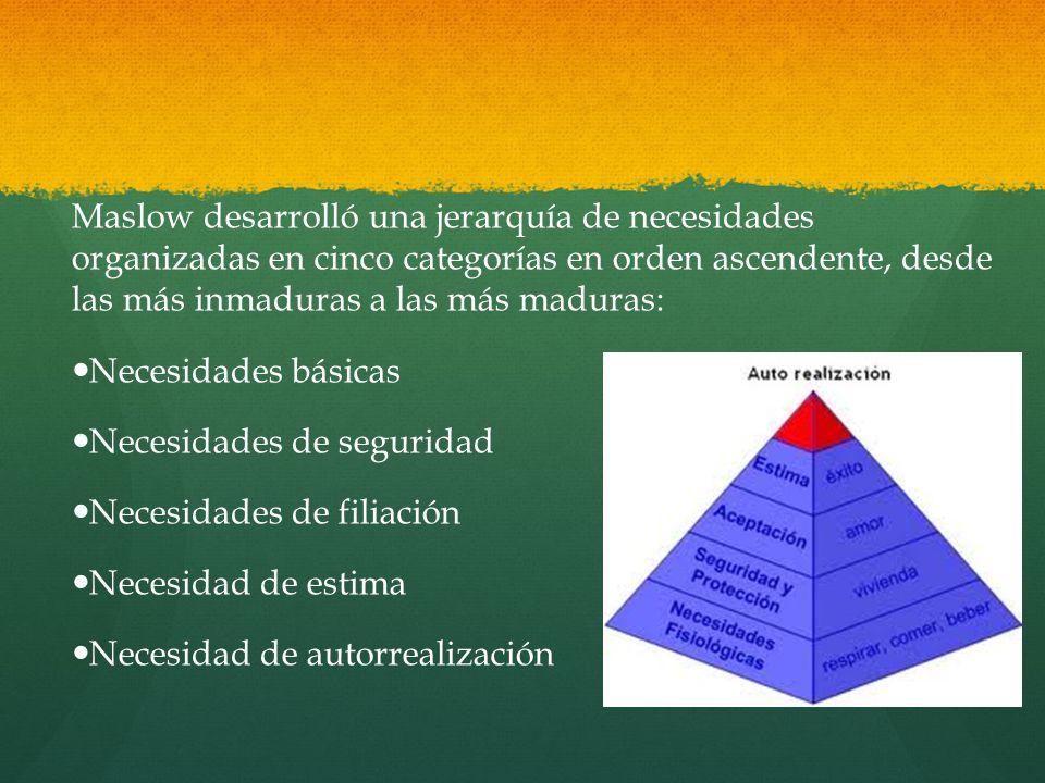Maslow desarrolló una jerarquía de necesidades organizadas en cinco categorías en orden ascendente, desde las más inmaduras a las más maduras:
