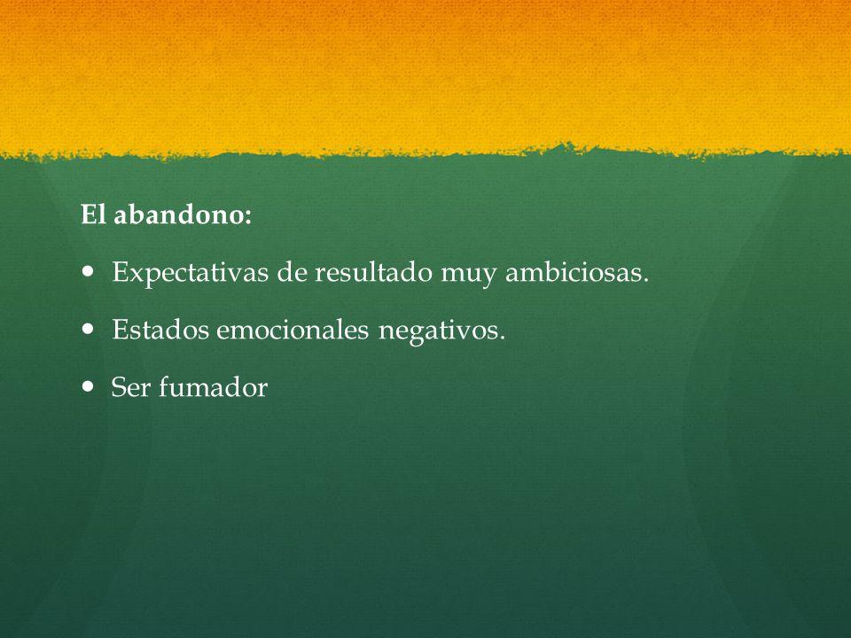 El abandono: Expectativas de resultado muy ambiciosas. Estados emocionales negativos. Ser fumador