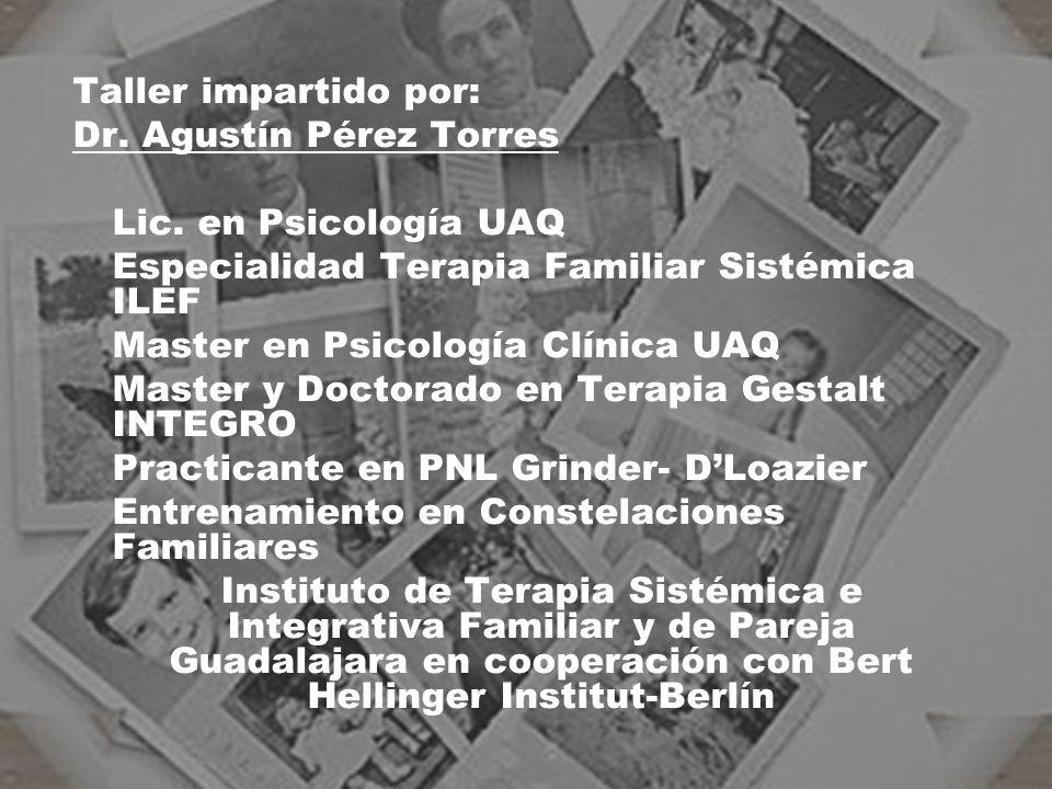 Taller impartido por: Dr. Agustín Pérez Torres. Lic. en Psicología UAQ. Especialidad Terapia Familiar Sistémica ILEF.