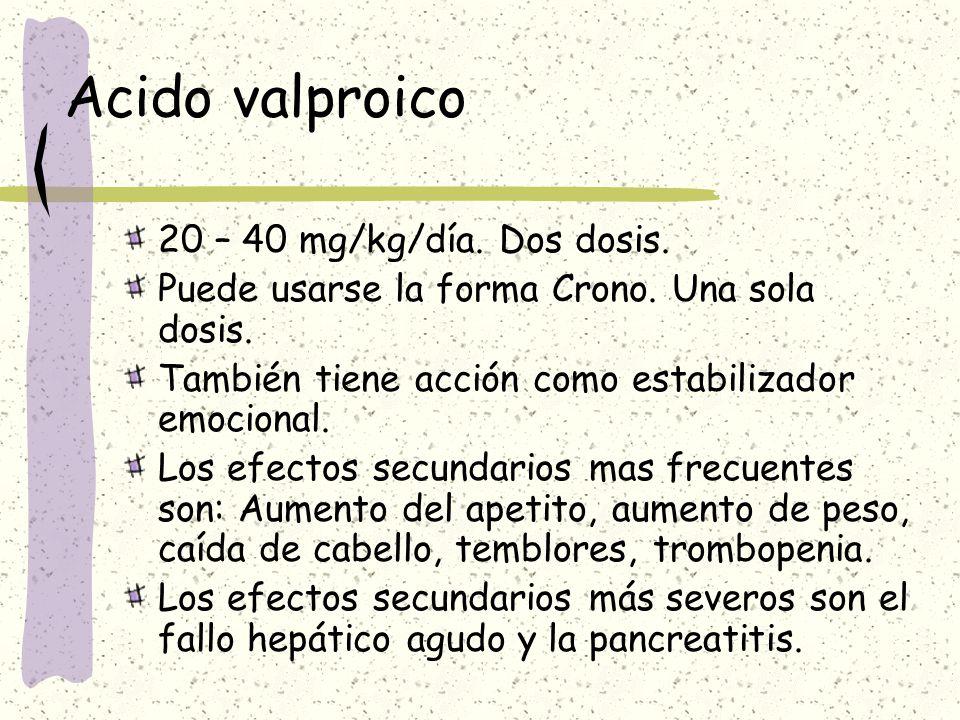 Acido valproico 20 – 40 mg/kg/día. Dos dosis.