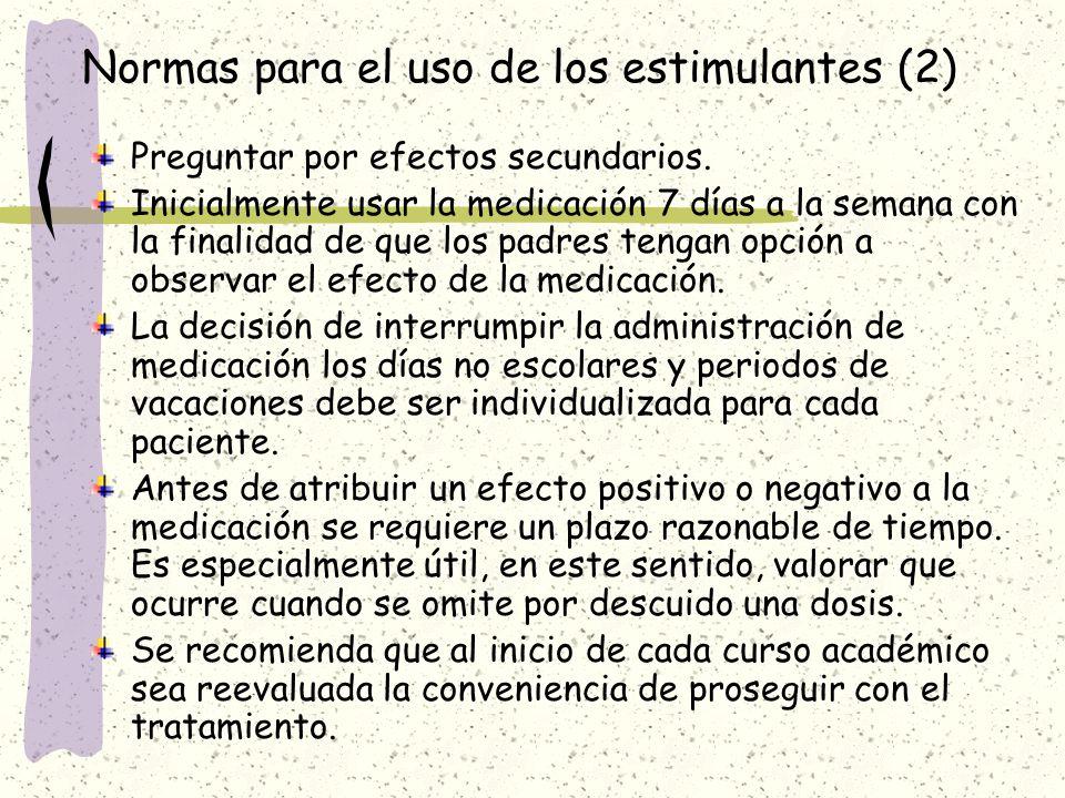 Normas para el uso de los estimulantes (2)