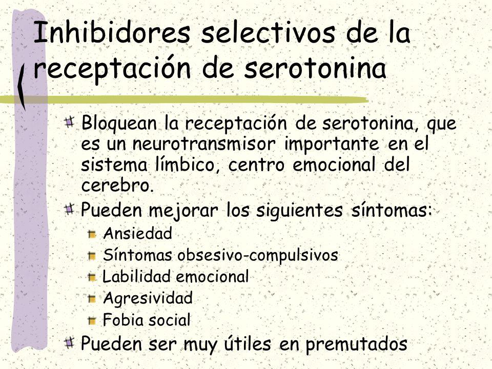 Inhibidores selectivos de la receptación de serotonina