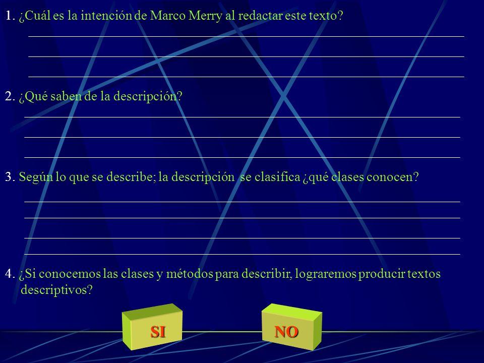 SI NO 1. ¿Cuál es la intención de Marco Merry al redactar este texto