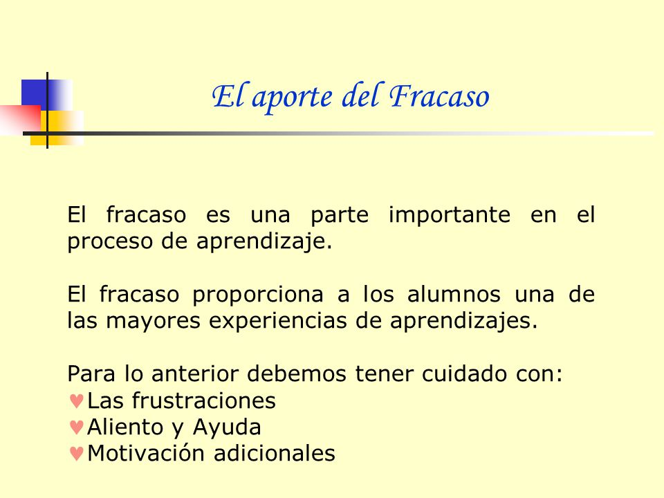 El aporte del Fracaso El fracaso es una parte importante en el proceso de aprendizaje.