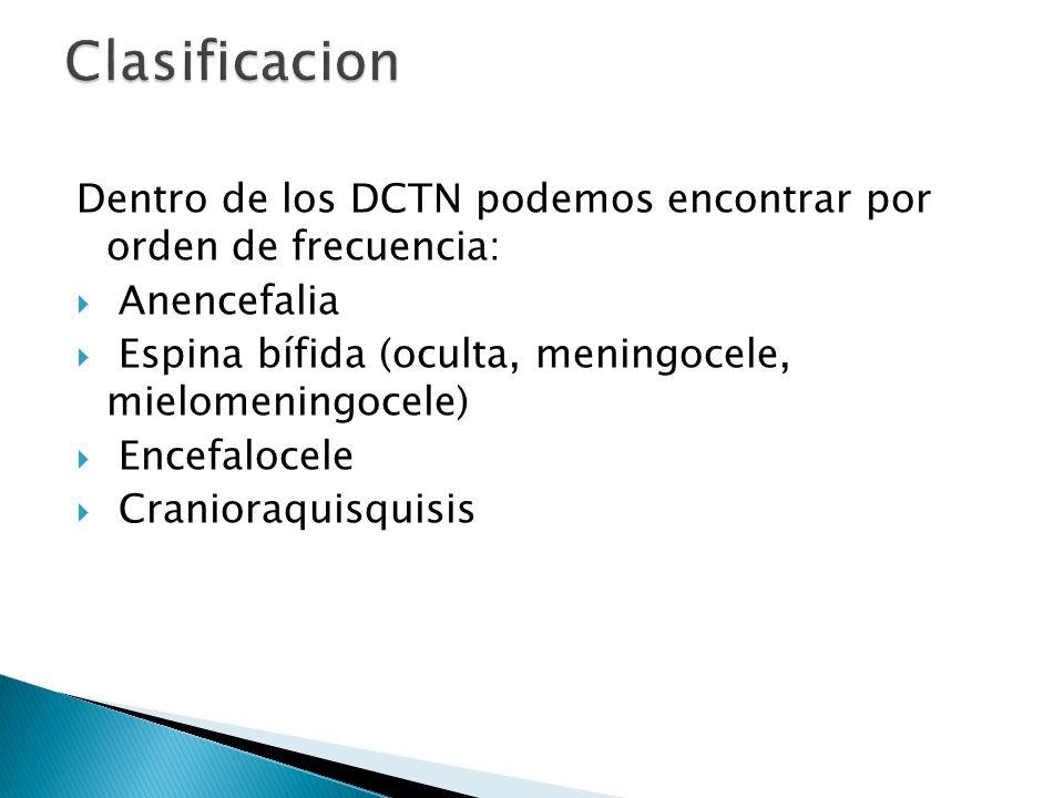 Clasificacion Dentro de los DCTN podemos encontrar por orden de frecuencia: Anencefalia. Espina bífida (oculta, meningocele, mielomeningocele)