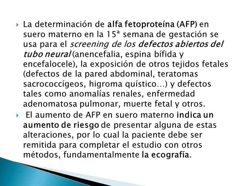 La determinación de alfa fetoproteína (AFP) en suero materno en la 15ª semana de gestación se usa para el screening de los defectos abiertos del tubo neural (anencefalia, espina bífida y encefalocele), la exposición de otros tejidos fetales (defectos de la pared abdominal, teratomas sacrococcígeos, higroma quístico…) y defectos tales como anomalías renales, enfermedad adenomatosa pulmonar, muerte fetal y otros.