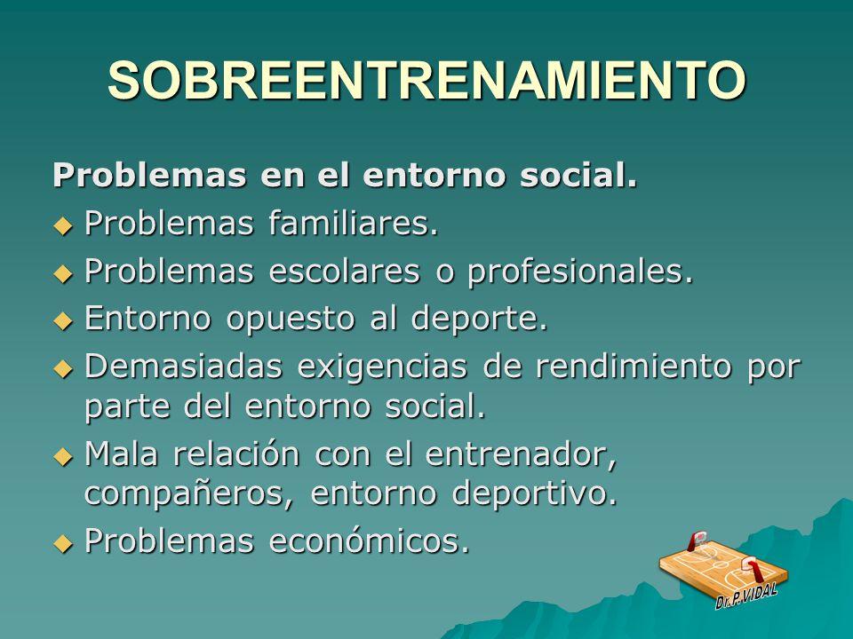 SOBREENTRENAMIENTO Problemas en el entorno social.