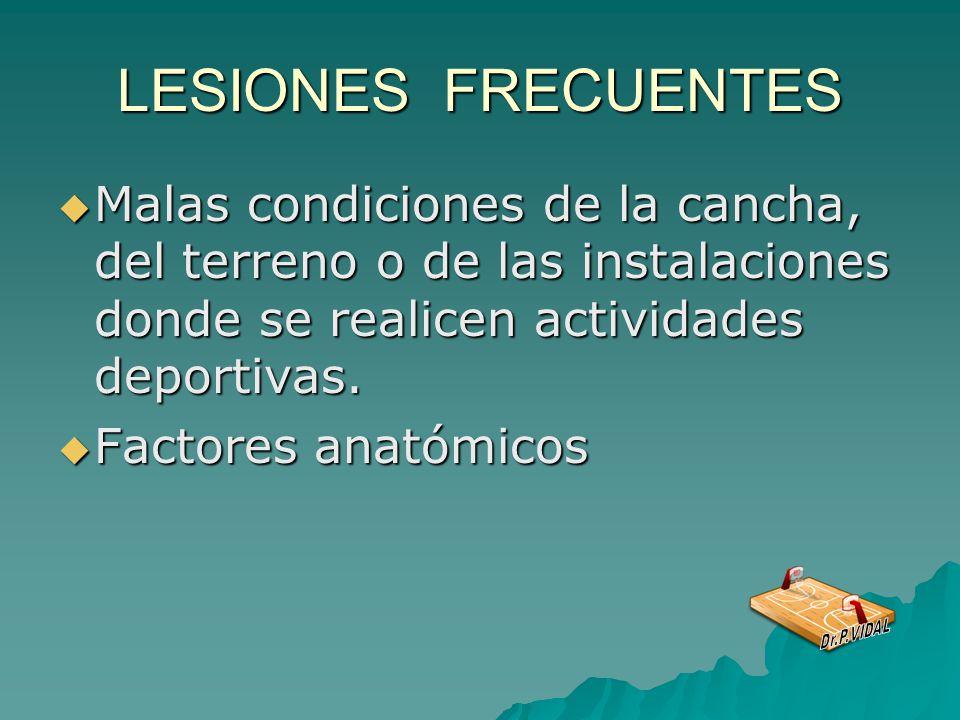 LESIONES FRECUENTES Malas condiciones de la cancha, del terreno o de las instalaciones donde se realicen actividades deportivas.