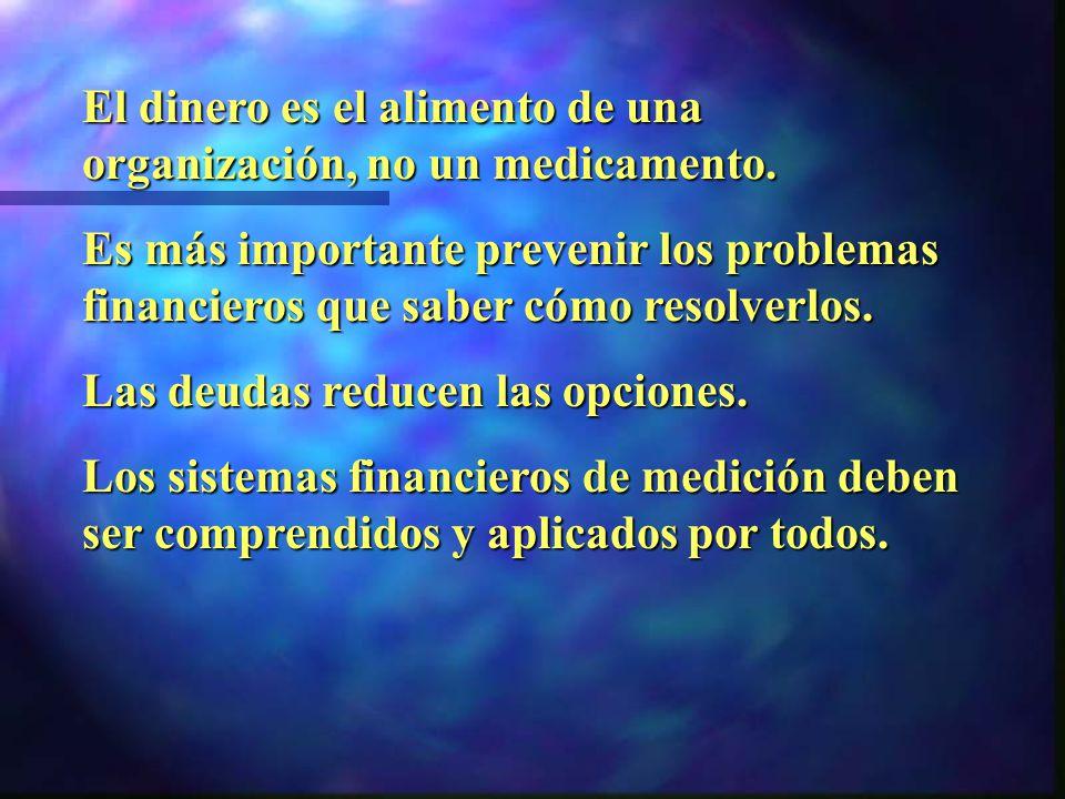 El dinero es el alimento de una organización, no un medicamento.
