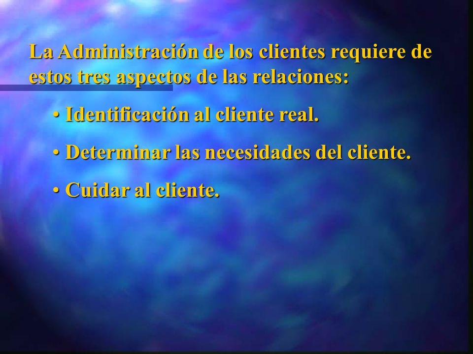 La Administración de los clientes requiere de estos tres aspectos de las relaciones: