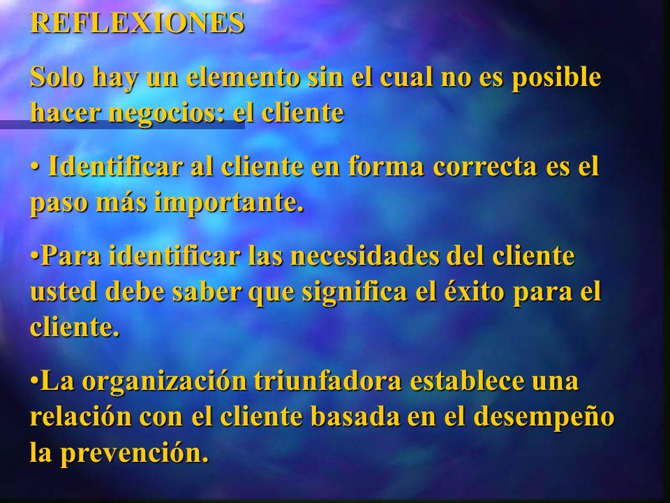 REFLEXIONES Solo hay un elemento sin el cual no es posible hacer negocios: el cliente.