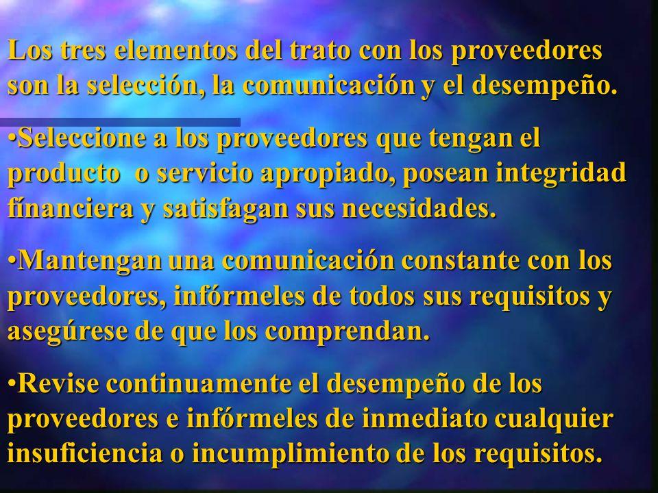 Los tres elementos del trato con los proveedores son la selección, la comunicación y el desempeño.