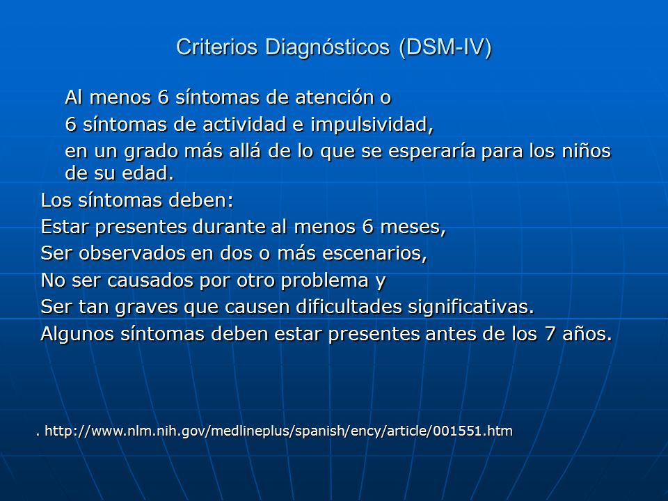 Criterios Diagnósticos (DSM-IV)