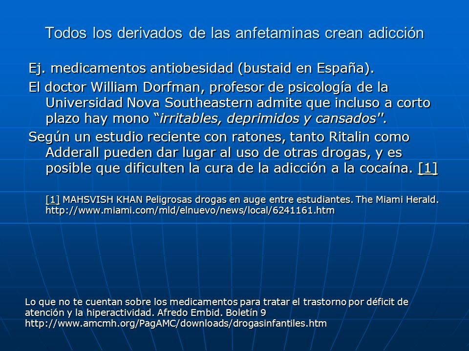 Todos los derivados de las anfetaminas crean adicción