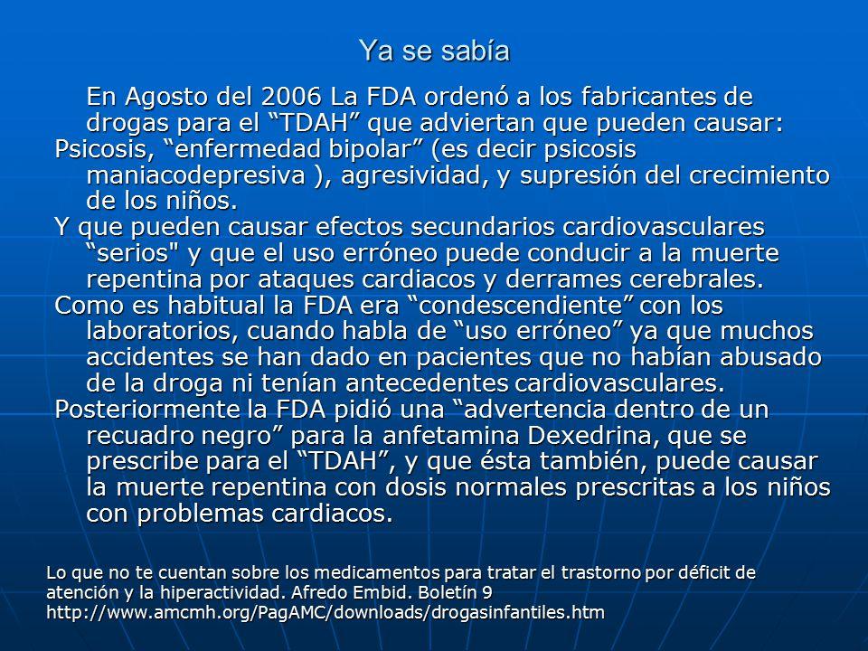 Ya se sabía En Agosto del 2006 La FDA ordenó a los fabricantes de drogas para el TDAH que adviertan que pueden causar: