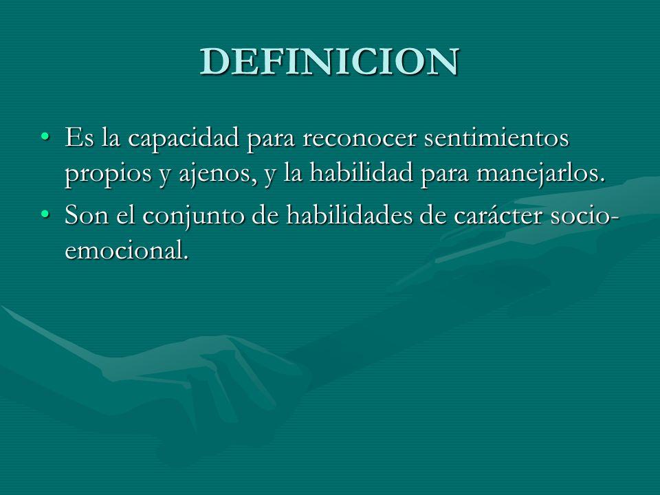 DEFINICION Es la capacidad para reconocer sentimientos propios y ajenos, y la habilidad para manejarlos.