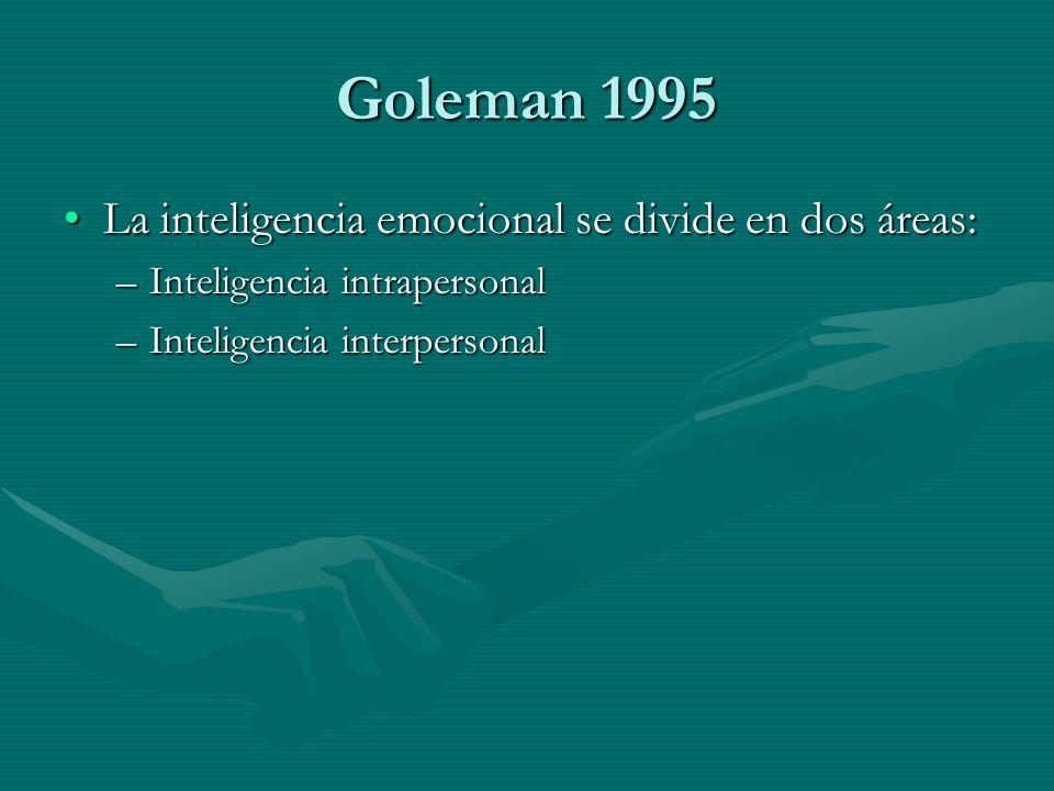 Goleman 1995 La inteligencia emocional se divide en dos áreas: