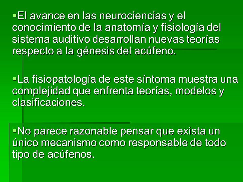 El avance en las neurociencias y el conocimiento de la anatomía y fisiología del sistema auditivo desarrollan nuevas teorías respecto a la génesis del acúfeno.
