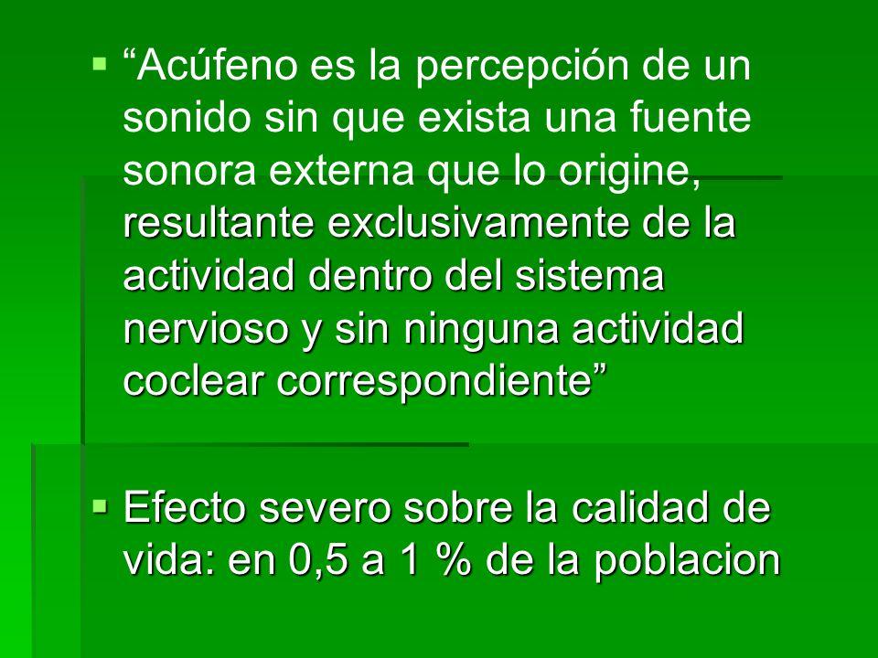 Acúfeno es la percepción de un sonido sin que exista una fuente sonora externa que lo origine, resultante exclusivamente de la actividad dentro del sistema nervioso y sin ninguna actividad coclear correspondiente