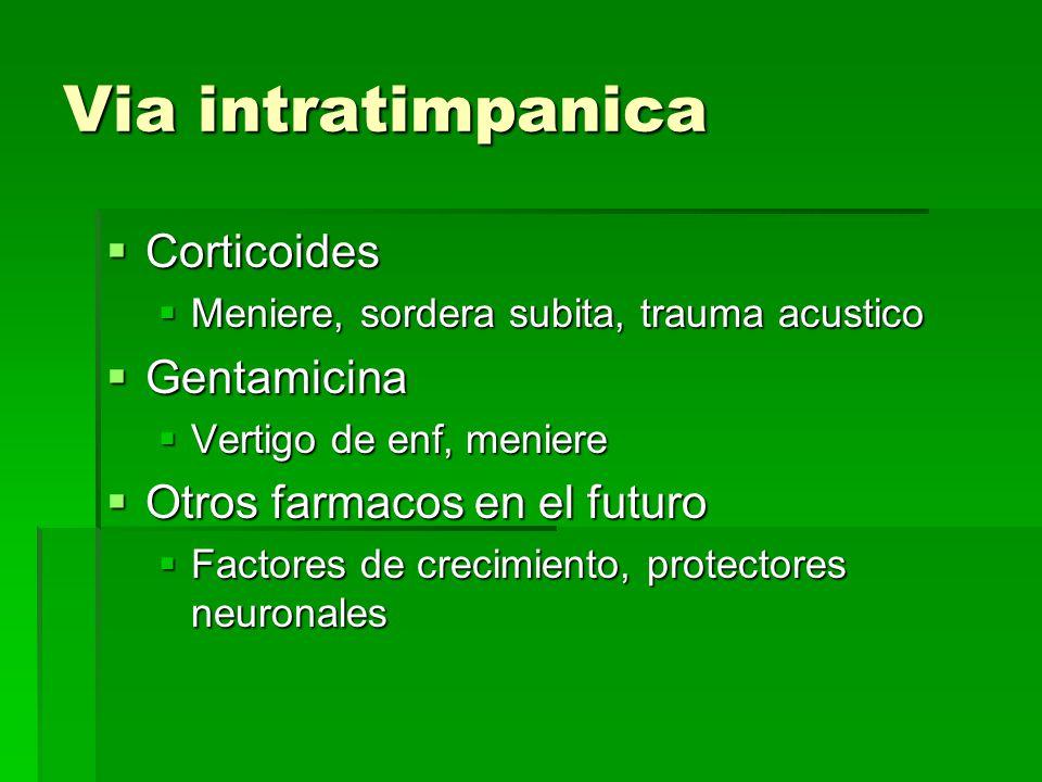 Via intratimpanica Corticoides Gentamicina Otros farmacos en el futuro