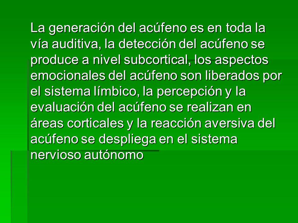 La generación del acúfeno es en toda la vía auditiva, la detección del acúfeno se produce a nivel subcortical, los aspectos emocionales del acúfeno son liberados por el sistema límbico, la percepción y la evaluación del acúfeno se realizan en áreas corticales y la reacción aversiva del acúfeno se despliega en el sistema nervioso autónomo