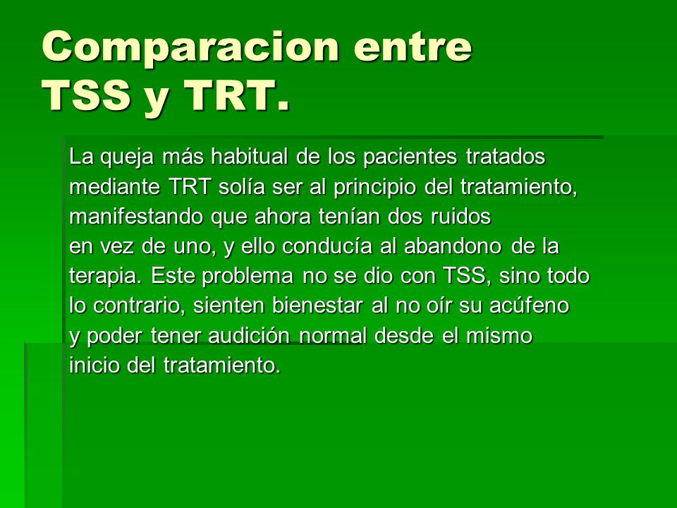 Comparacion entre TSS y TRT.