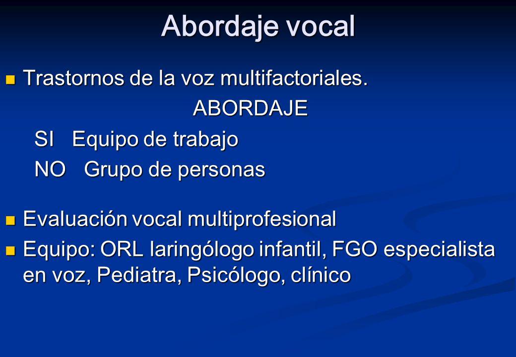 Abordaje vocal Trastornos de la voz multifactoriales. ABORDAJE